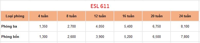 chi phí của khóa học esl 611