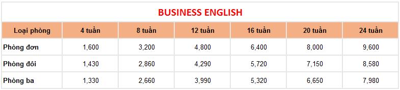 học phí khóa tiếng anh thương mại trường Anh ngữ LSLC