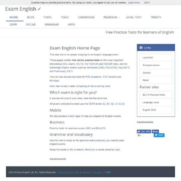 học tiếng Anh miễn phí trên mạng với Exam English
