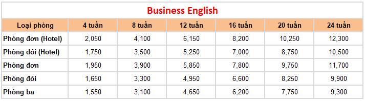 học phí trường Anh ngữ CIA khóa Business English