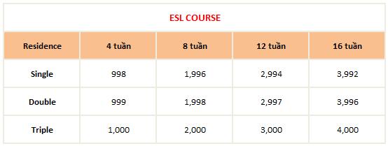 học phí khóa ESL COURSE