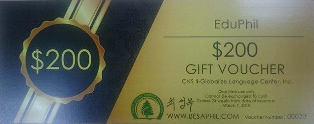 voucher của trường anh ngữ cns2