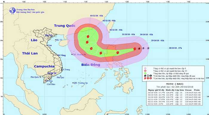 dự báo cơn bão Yutu của trường Anh ngữ WALES