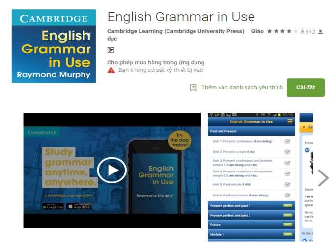 ứng dụng học tiếng Anh kỹ năng ngữ pháp