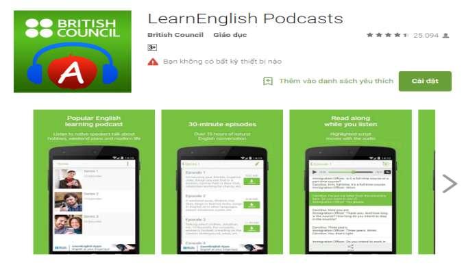 ứng dụng học tiếng Anh nâng cao kỹ năng nghe