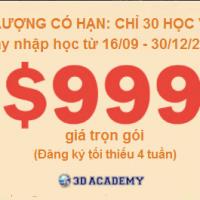 Tháng 9/2019, học viện Anh ngữ 3D có khuyến mãi $999