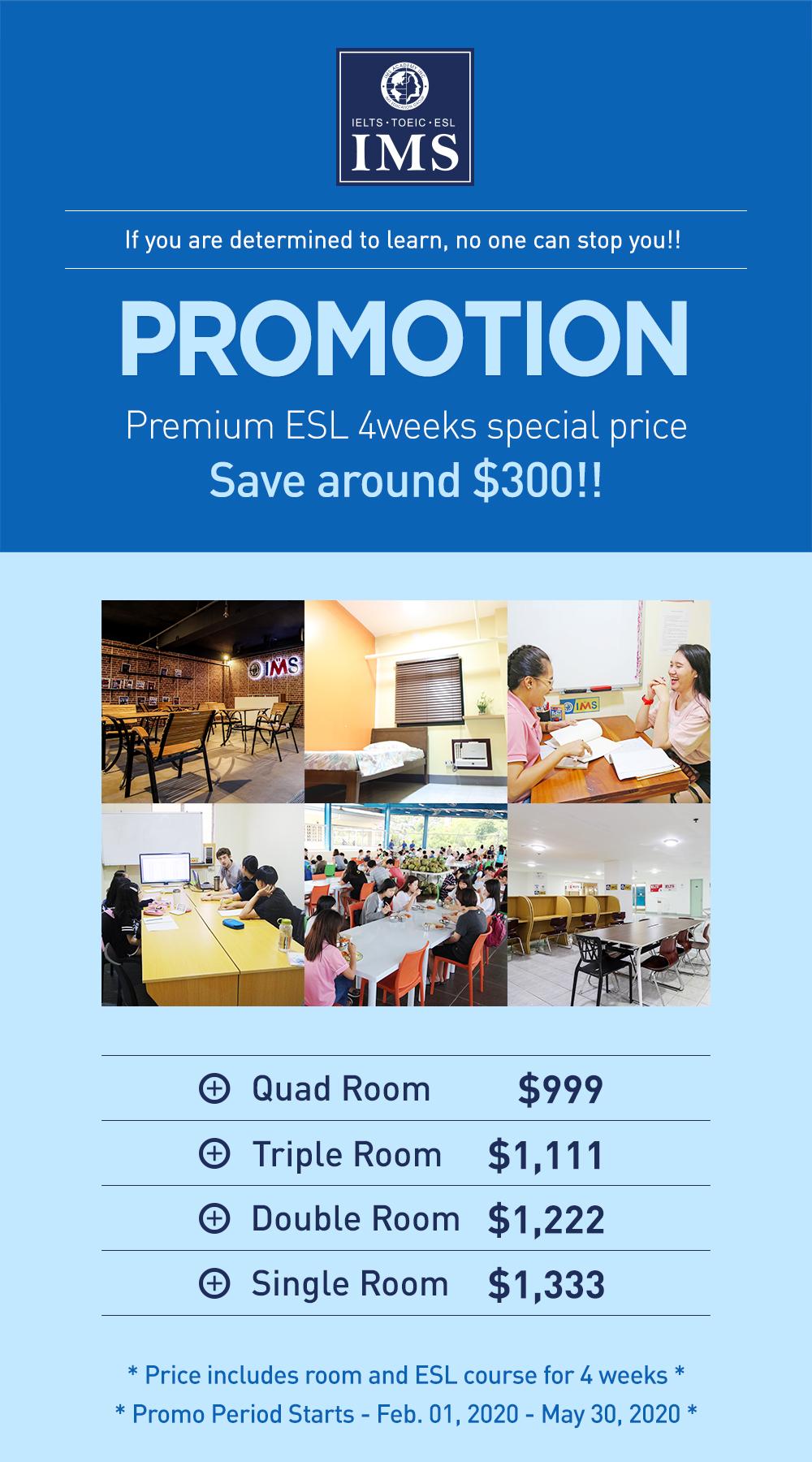 Học ESL với chi phí siêu tiết kiệm 999 USD/4 tuần tại trường IMS